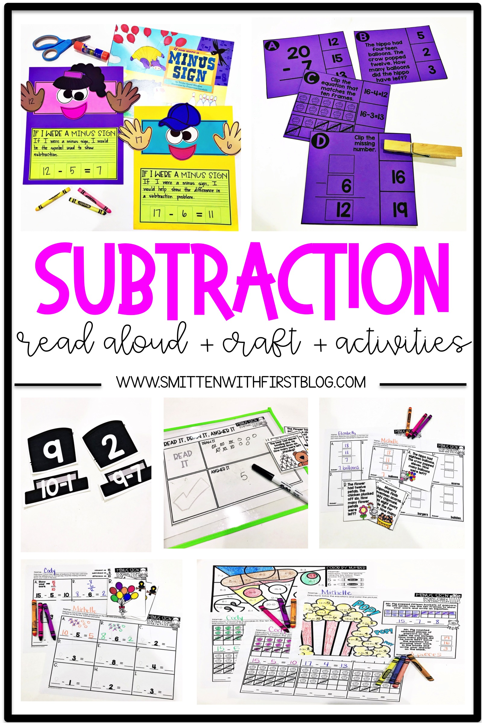 Subtraction activities and read alouds