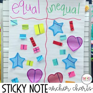 fun fraction activities, games, read alouds, and sticky note fraction anchor chart for kindergarten, 1st grade and 2nd grade
