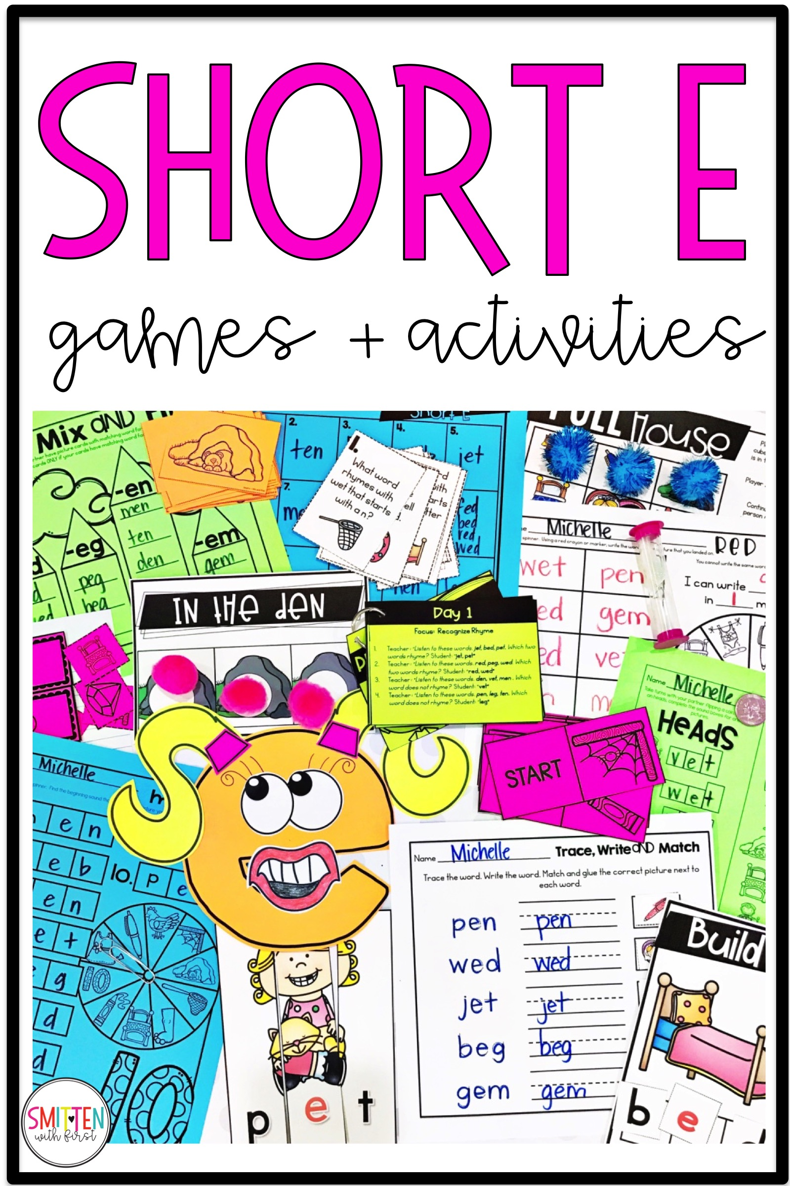 Short Vowel e Phonics Activities and Games